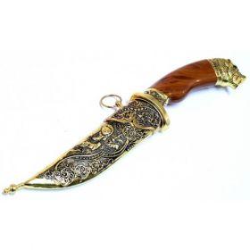 "11"" Dagger with Sheath Gold Color & Bear Design"
