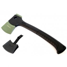 "13"" Black And Green Tactical Axe With Hard Plastic Sheath"