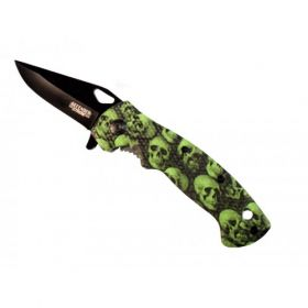 "7.5""  Mini Folding Spring Assisted Knife Green Skull Handle Design With Clip"