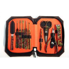 10 PC High Quality Black & Orange Purse Button Stylish Bag Kit Manicure Set