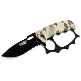 "8"" Camo & Black Folding Heavy Duty Spring Assisted Knife W/Belt Clip"