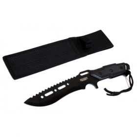 "Full Tang 12"" Black Blade Combat Ready Hunting Knife With Sheath"