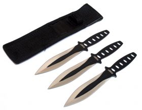 "8"" Black & Sliver Blade 3 Pc Throwing Knives with Sheath"