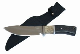 "9.5"" Hunting Knife Silver Stainless Steel Brown Wood Handle with Sheath"