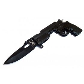 "8"" Spring Assisted Gun Knife with Lock and Belt Clip"