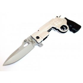 "9"" Silver Gun Spring Assisted Knife  with Lock The Bone Edge Collection Series with Belt Clip"