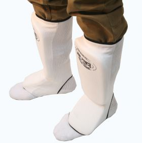 White Professional Martial Arts Shin Pads