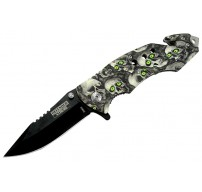 "8"" Spring Assisted Skull Handle Knife with Glass Breaker and Belt Cutter"