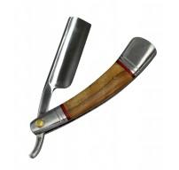 "9.5"" The Bone Edge Hand Made Wood Handle Razor Blade with Leather Sheath"