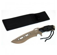 """12"""" Full Tang Silver Combat Ready Hunting Knife With Sheath"""