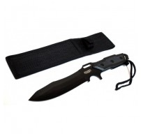 """12"""" Full Tang Black Blade Combat Ready Hunting Knife With Sheath"""