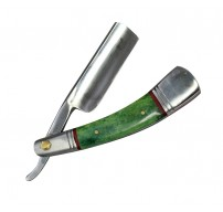 "9.5"" The Bone Edge Hand Made Green Razor Blade with Leather Sheath"