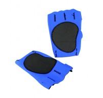 Perrini Blue Fingerless Sport Gloves with Velcro Wrist Strap