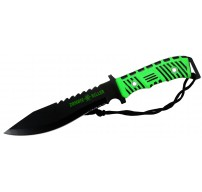 """13"""" Zombie Killer Hunting Knife Full Tang Green & Black Handle with Sheath"""