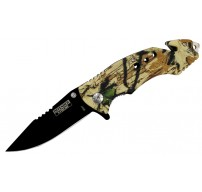 "8"" Spring Assisted Woodland Camo Knife with Glass Breaker and Belt Cutter"