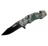 "8"" Spring Assisted Digital Woodland Camo Knife with Glass Breaker and Belt Cutter"